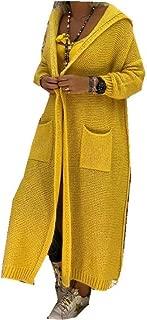 neveraway Womens Coat Hood Knit Outerwear Maxi Fall Winter Big Pockets Cardigan