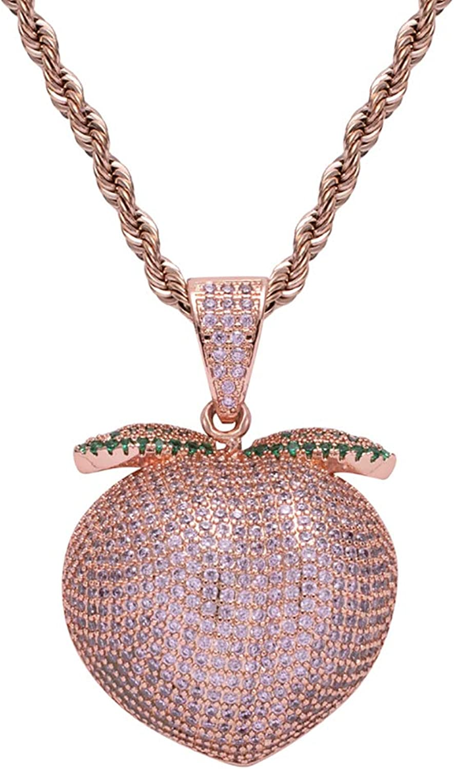 Unisex pink gold Peach Fruit Pendant Hip Hop Iced Out Crystal Necklace with 60Cm Stainless Rope Chain for Men Women