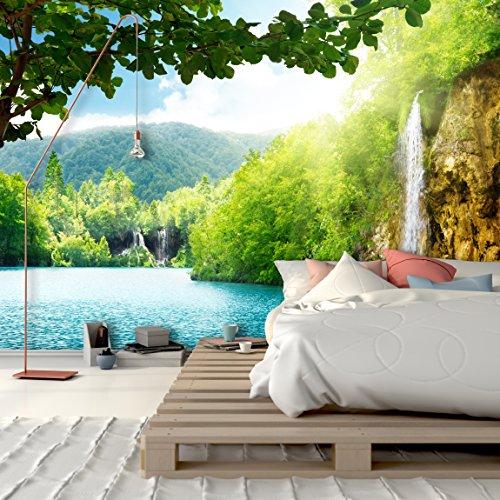 PVC Fototapete – ECO Wandbild Selbstklebende Tapete – 3D Vinyl Wandsticker - Wasserfall im Tiefen Wald SW193 XXL