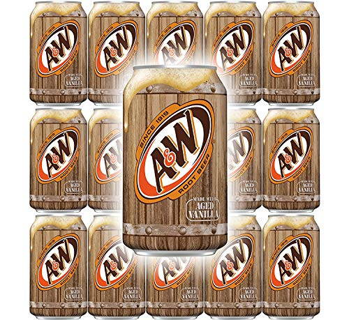 A&W Root Beer, Soft Drink Soda, 12 Fl Oz Can (Pack of 15, Total of 180 Fl Oz)