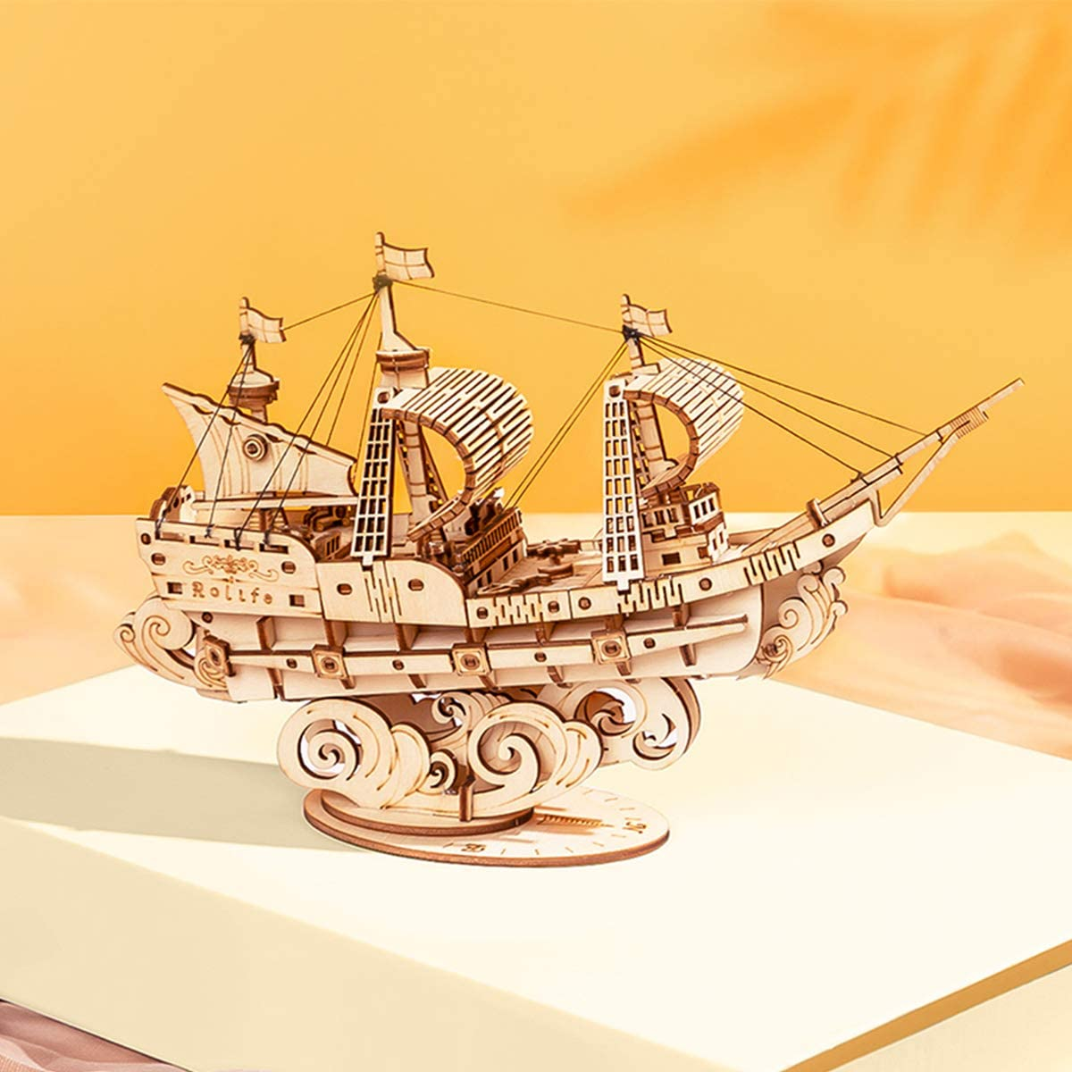 Collectible Display Building Kits Gift for Teens and Adults 91 pcs Rolife 3D Wooden Puzzle Ship Model 7.4 Japanese Diplomatic Ship