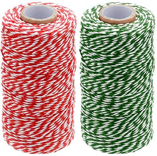 zyh (2 MM) 200 m de Hilo de algodón Artesanal Duradero Hilo Rojo y Blanco de Navidad para Envolver Regalos artesanales