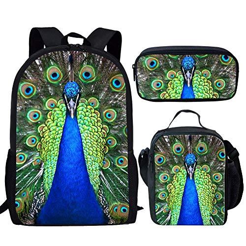 RSHSJCZZY Pretty Print Backpack Teen Girls School Bag Travel Backpack peacock sets