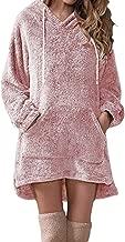 E-Scenery Women's Long Sleeve Sherpa Fleece Loose Pullover Hoodie Sweatshirt Dress with Pocket