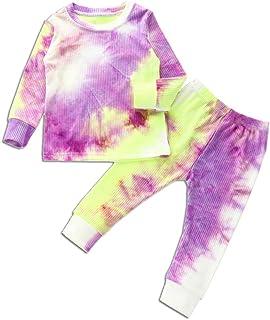 Niño Niña Niño Tie Dye Ropa De Manga Larga Camiseta Tops Cintura Elástica Pantalones De Algodón Otoño Invierno Pijamas Con...