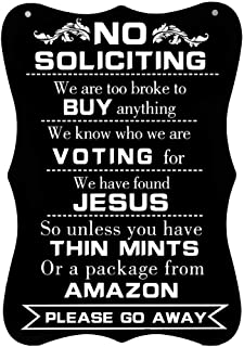 """Calien No Soliciting Sign Hanging 12"""" X 8"""" Large No Soliciting Funny Signs for House Door Office Business"""