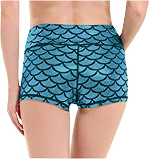 WYTong Women's Athletic Leggings Fashion Women's Printing Mid Waist Novelty Print Running Yoga Shorts