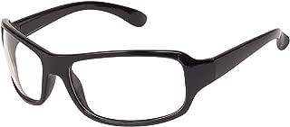 Arzonai Men's UV-400 Protected Sunglasses Night Driving Glasses Hector Sports Wrap Matte Black, 64mm (Translucent White Lens) (MA-905-S1)
