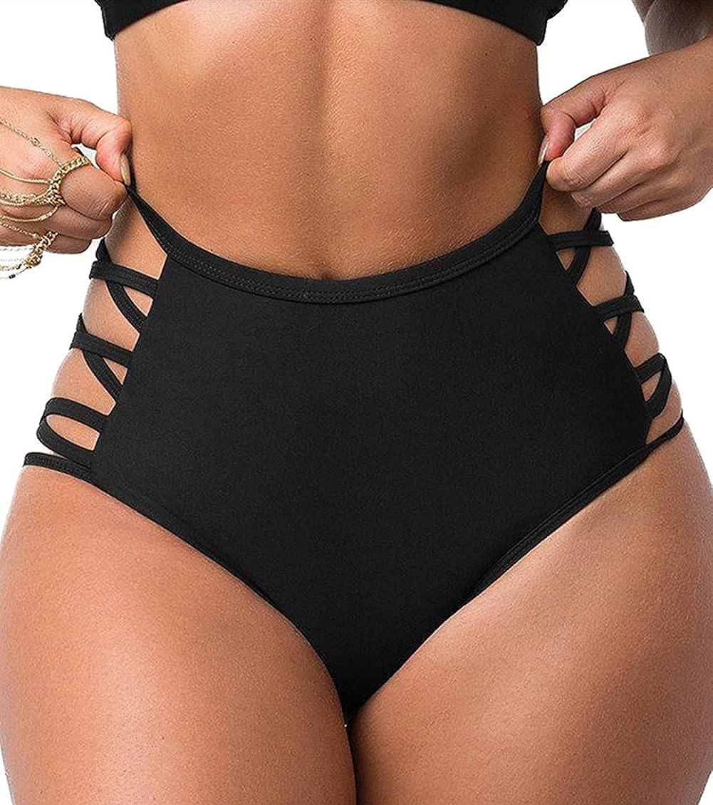 Adisputent Womens High Waisted Bikini Bottoms Ruched Full Coverage Tankini Underwear Swimsuit High Cut Briefs Shorts