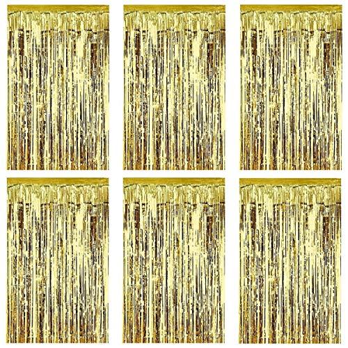 Gold Lametta Vorhänge, Folie Hintergrund Fringe Vorhänge Metallic Tinsel Vorhänge Geburtstag Party Hochzeit Photo Booth Dekorationen, Tür Fenster Hintergrund Foto Requisiten Weihnachten, 1m x 2m
