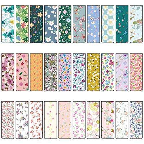 ZYNERY 30 Pieces Magnetic Bookmarks Magnet Page Markers Colorful Assorted Book Markers Set for Women/Student/Office Cute Paper Clips Book in Floral Style 30 Designs(236 x 08 Inch)