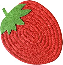TOPBATHY Pot Holders Cloth Trivets Strawberry Shaped Cotton Thread Kitchen Table Mats Hot Pads Heat Resistant Coasters for...