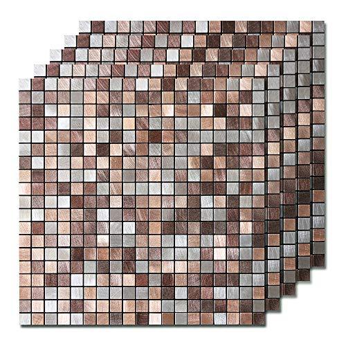 Peel and Stick Tile Backsplash, Kitchen Backsplash Peel and Stick Mosaic Tile, Copper Tiles for Bathroom & Fireplace Decorations
