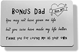 Bonus Dad Gift Metal Wallet Insert Card Stepdad Birthday Card Gift,Stepfather Gift Stepdad Gift from Daughter Son Kid,Than...