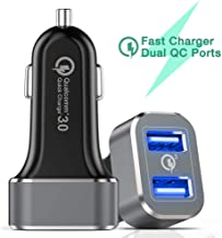 Car Charger, Capshi Quick Charge 3.0 36W Dual USB Car Charger Adapter Fast Car Charging Compatible Galaxy Note 10 S10 S8 S9 Note 8, iPhone X 8 7 6s Plus, iPad, iPad Air 2/Mini 3, Pixel, LG, HTC