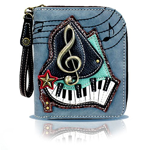 Chala Zip Around Wallet, Wristlet, 8 Credit Card Slots, Sturdy Pu Leather - Piano Keys - Indigo