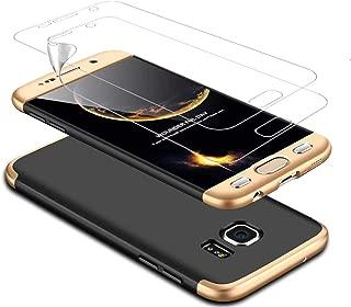 DECHYI compatibles para Funda Samsung S7 Edge,Cubierta + Protector de Pantalla Matte Ultra Slim PC Hard-Protección del Cuerpo Scratchproof Cubierta-Oro+Negro
