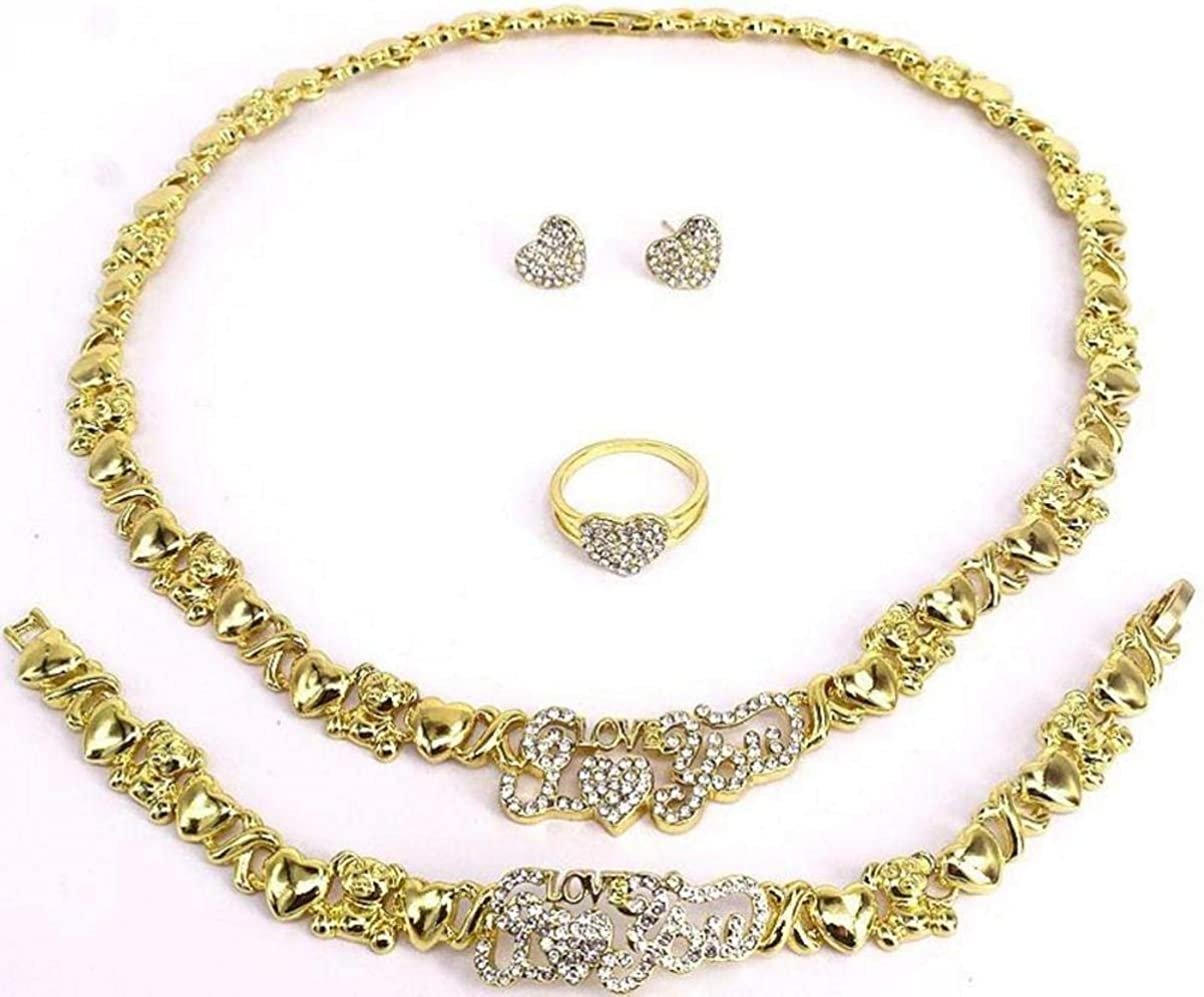Necklace Set for Women - Teddy Bear I Love You Charm Necklace - Women's XOXO Hugs & Kisses Necklace Set - Jewelry Set Includes Ring Bracelet & Earrings 18kt Real Gold Plated Layered #8