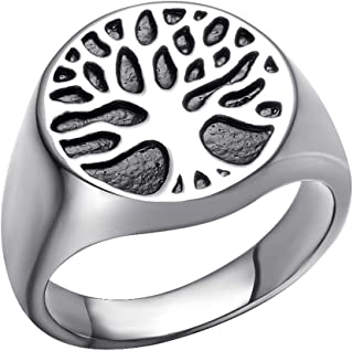 Yfnfxl Men's Stainless Steel Vintage Religious Rings, Life of Tree Band Christmas Wedding Anniversary Jewelry Rings for Men