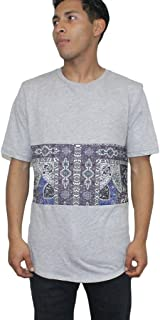 Mens Striped Elongated Long Line Curved Hem Scoop Crew Neck T Shirt Aztec Tribe Tribal Print Top Tee Grey