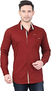 Meraki By Private Image Casuals Solids Maroon Full Sleeves Mens Shirts