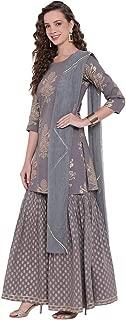 Divena Grey Foil Print Cotton Sharara Set with Net Dupatta