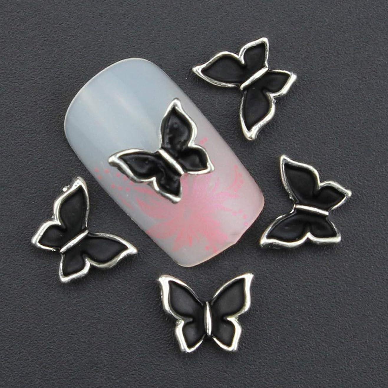 専門用語学習者迷惑10個入り蝶ネイルアートラインストーンの装飾ハロウィーンの3D合金ネイルズAccessorieギフトチャームグリッターマニキュアツール