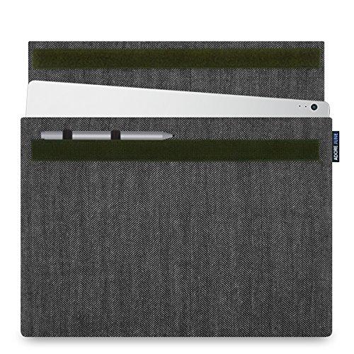 Adore June Business 13,5 Zoll Hülle kompatibel mit Microsoft Surface Book 2 / Surface Book Charakteristische Tasche aus Fischgrat-Stoff mit Stift Halter für den Microsoft Surface Pen, Grau/Schwarz