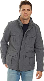 Fleet Street Mid-Length Wool Coats for Men with Collar, Quilted Shell for Winter