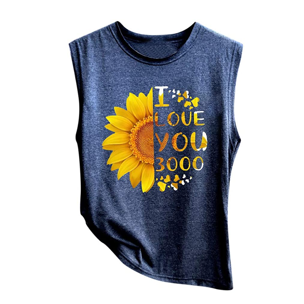 Ximandi Women's I Love You 3000 Times Print Sleeveless Tank Tops Casual Loose Fit Soft Shirt Blouse