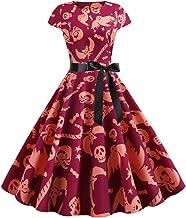 Women Halloween Audrey Hepburn Vintage Ghost Print Short Sleeve Empire Waist Retro Ball Gown Flared Swing Pleated Dress
