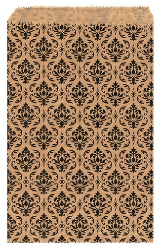 """200 pcs Damask Paper Gift Bags Shopping Sales Tote Bags 6"""" x 9"""" Brown with Black Damask Design"""