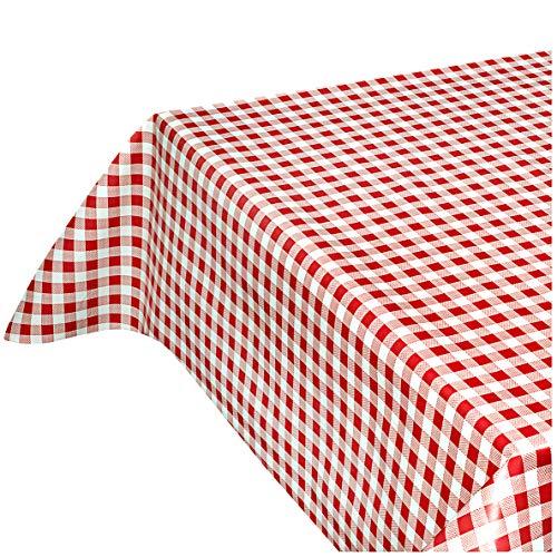 emmevi Tovaglia Cucina Antimacchia Quadretti Rossi al Metro h140 cm su Misura Plastificata Cerata Retro Felpato MOD.FIABA7