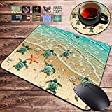 Gaming Mouse Pad and Coasters Set, Sea Turtles on The Beach, Starfish Shell Blue Ocean Painting Art Mousepad, Non-Slip Rubber Rectangle Mouse Pad, Customized Mouse Mat for Working and Gaming