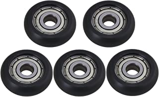 BQLZR 5x21.5x7mm Black Silver Carbon Steel Engineering Passive Round Bearing Guide Pulley Wheel Rail Roller 630RPM Load 55KG for for 3D Printer Aluminum Profile Pack of 5