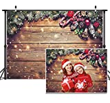 8X6FT Christmas Backdrop Snowflake Gold Glitter Christmas Wood Wall Photography Backdrop Xmas Rustic Barn Vintage Wooden Floor Background for Kids Portrait Photo Studio Booth D038