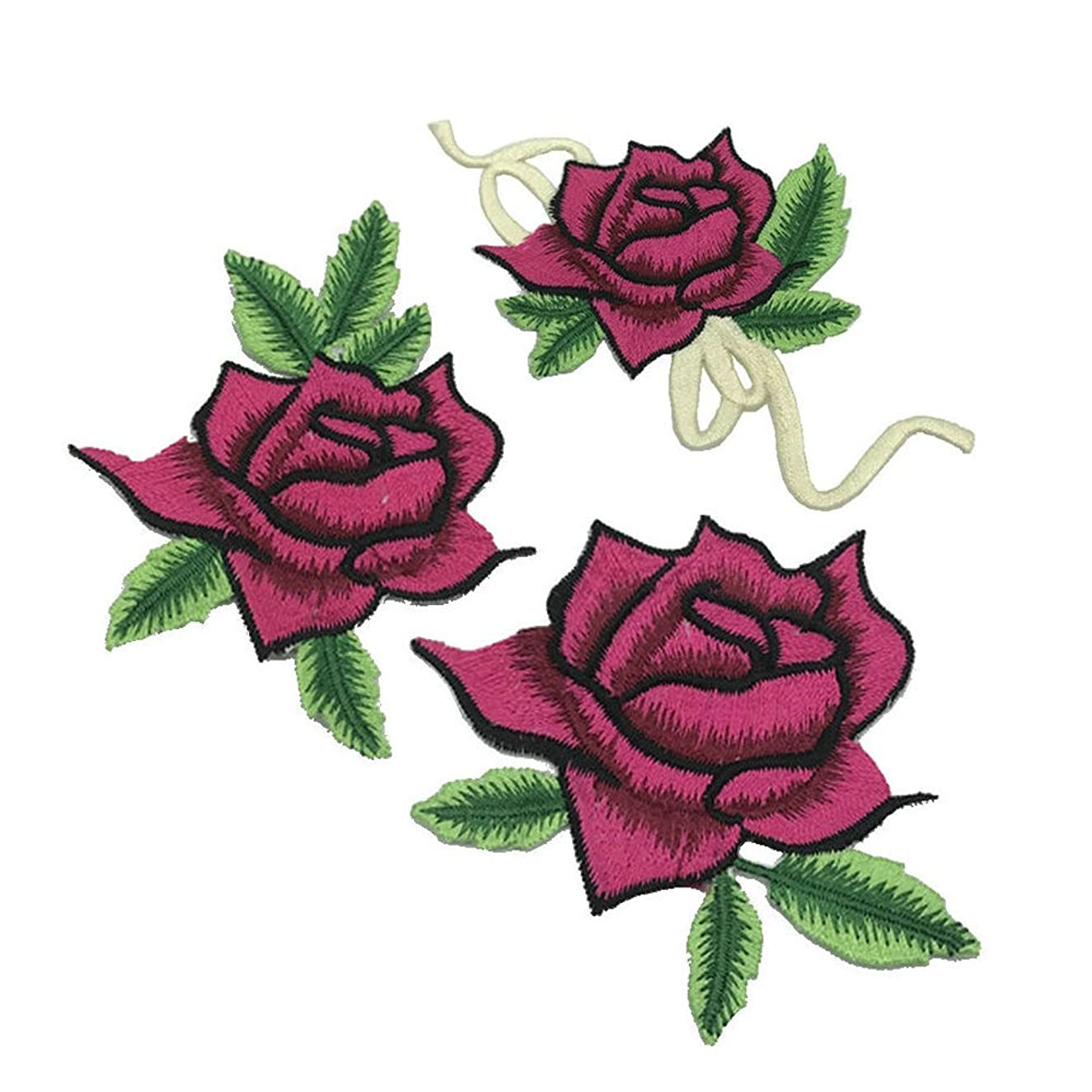 3pcs/ set Rose Embroidery Iron On Flower Patches For Craft Sewing Clothing Scrapbooking Decorative Applique
