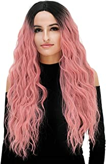 Pelucas Sintéticas Pelucas De Broma Lado Estilo Sin Peluca Gradiente Púrpura Gradiente Rosa Pelo Sintético Mujer