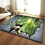 Faatee Alfombras Grandes Lavable Mullido Fácil Limpieza Tradicional IKEA Antideslizante Geométrico Vintage Niños Moderno Panda Come bambú...