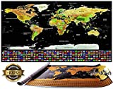 Aventour Carte du Monde à Gratter | 800 x 600 mm Grand Poster de Décoration XXL | Cadeau Idéale Pour Voyageurs | Cartographie...