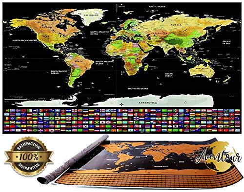 Aventour Mapa Mundi Para Rascar | 800x600mm Mural Grande Del Mundo XXL | Poster Mundial Con Países,...