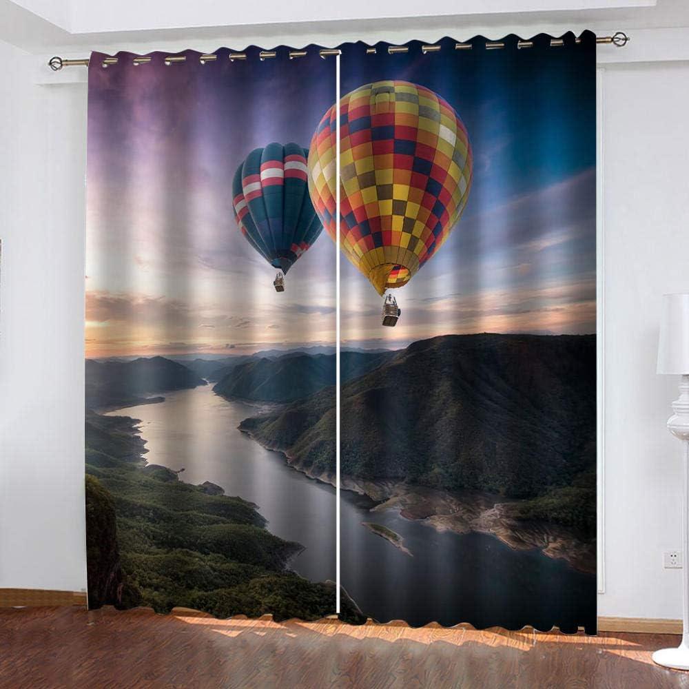 MXYHDZ Cortinas Opacas de Salon - Globo de aire caliente en el cielo Impresión 3D, Dormitorio Aislantes Termicas con Ollaos - 150 x 166 cm para Oficina y salón, Dormitorio habitación de los niños, 2 P
