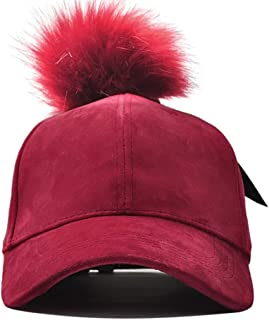 Hat Female Autumn and Winter Korean Version of The Wild Cap Winter Plus Velvet Warm Knitted Sweater Cap Cute Hair Ball Baseball Cap` TuanTuan (Color : Red, Size : 56-60CM)