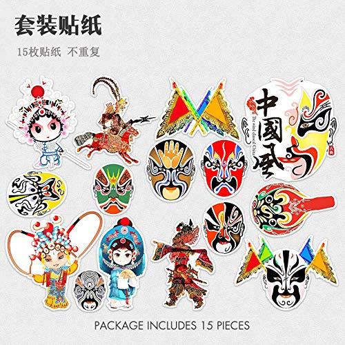 FSVGC Cartoon Peking Opera Drama Facebook Computer Stickers Suitcase Stickers Trolley Case Suitcase Waterproof Stickers