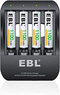 EBL Smart 2 Hours Ni-MH Battery Charger iQuick Tech USB-Input Rechargeable AAA Batteries 1100mAh, 4-Counts