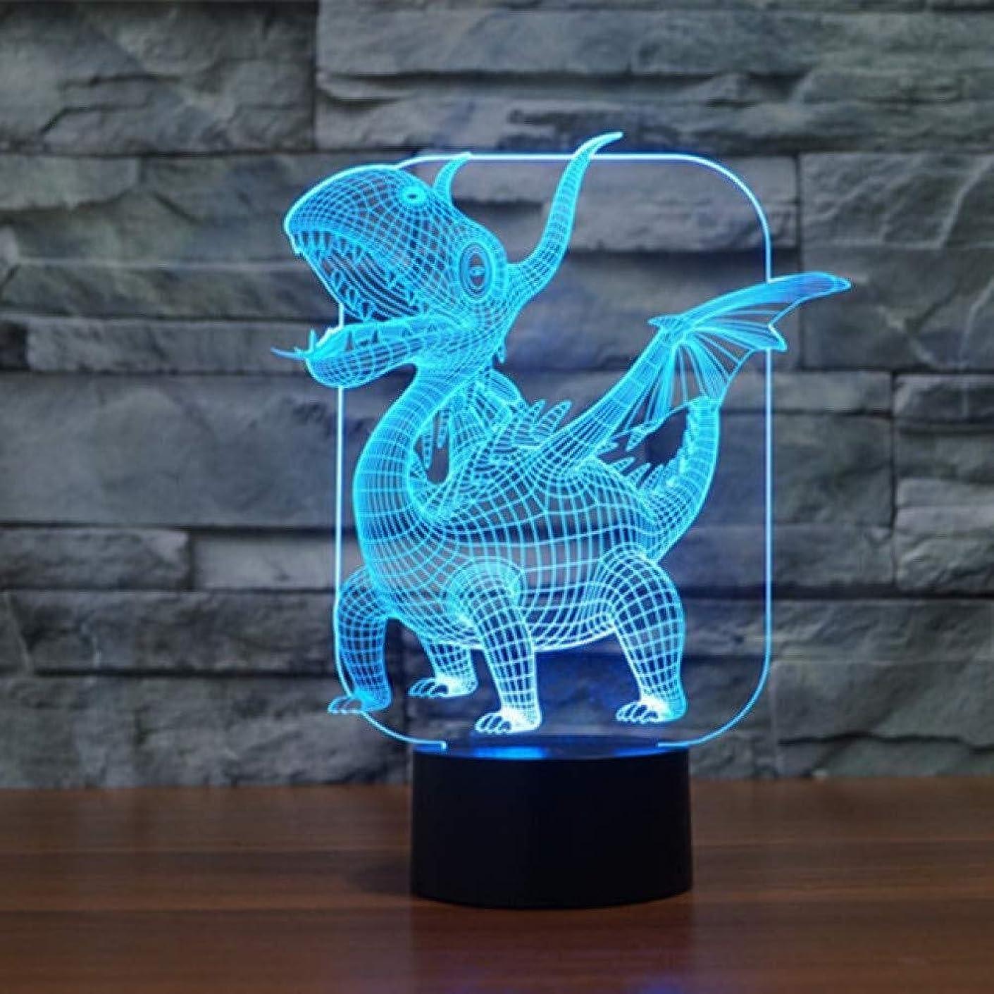 に応じて旅高音3Dイリュージョン翼竜LEDランプタッチセンサー7色の変更ベッドルームベッドサイド装飾デスクランプキッズハロウィンフェスティバル誕生日ギフトのUSB充電
