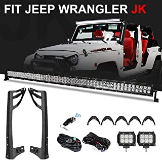 Racbox 52 Inch Off road LED Light Bar + 2 X 4 inch LED Pods Light + Windshield Mounting Brackets with Wiring Harness Set for Jeep Wrangler JK Unlimited JKU Rubicon Sahara 2007-2018