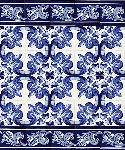 Cerames - Mariposa | 30 mexikanische fliese 10x10 cm Talavera - Küchenfliesen Dekoration für Badezimmer, Dusche, Treppen, Küchenrückwand, Zementfliesen, marokkanische Designsd