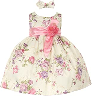 bc3efed45d6 Cinderella Couture Baby Girls Pink Ivory Floral Printed Jacquard Sash Hair  Bow Dress 6-24M