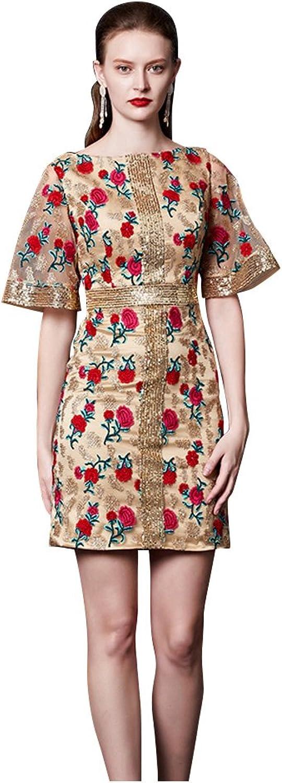 BeautyEmily Embroidery Mini Sequins Half Sleeve O Neck Print Dresses